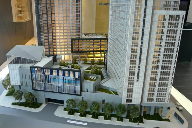 Scale model of Concord Adex's Quartz and Spectra condos Toronto
