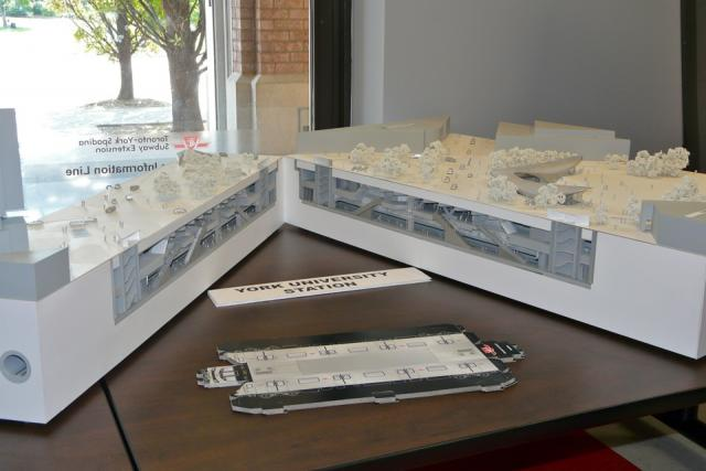 Scale model of York University station on the TTC Spadina subway extension