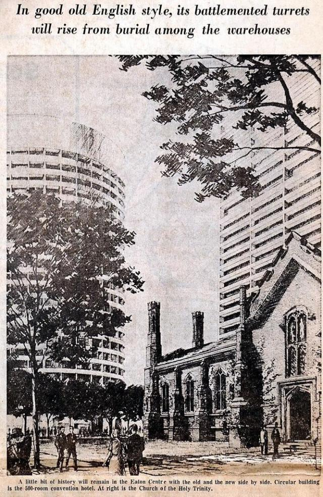 Clipping from The Toronto Telegram showing the Eaton Centre