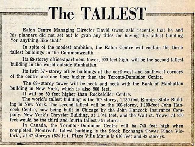 Clipping from The Toronto Telegram discussing the Eaton Centre