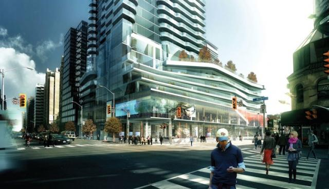 Rendering of the Street-Level Facade of the One Bloor Condominiums