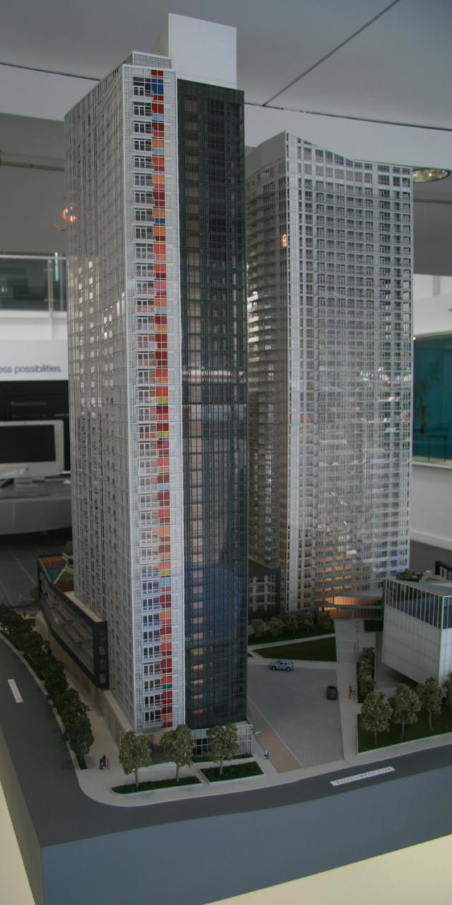 Colour blocking on the Spectra Tower at CityPlace by Concord Adex