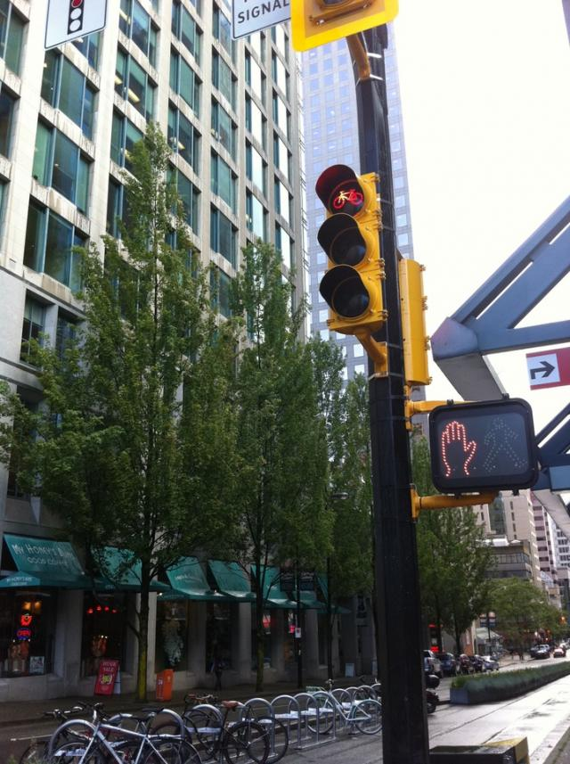 Bike lane signalling Vancouver