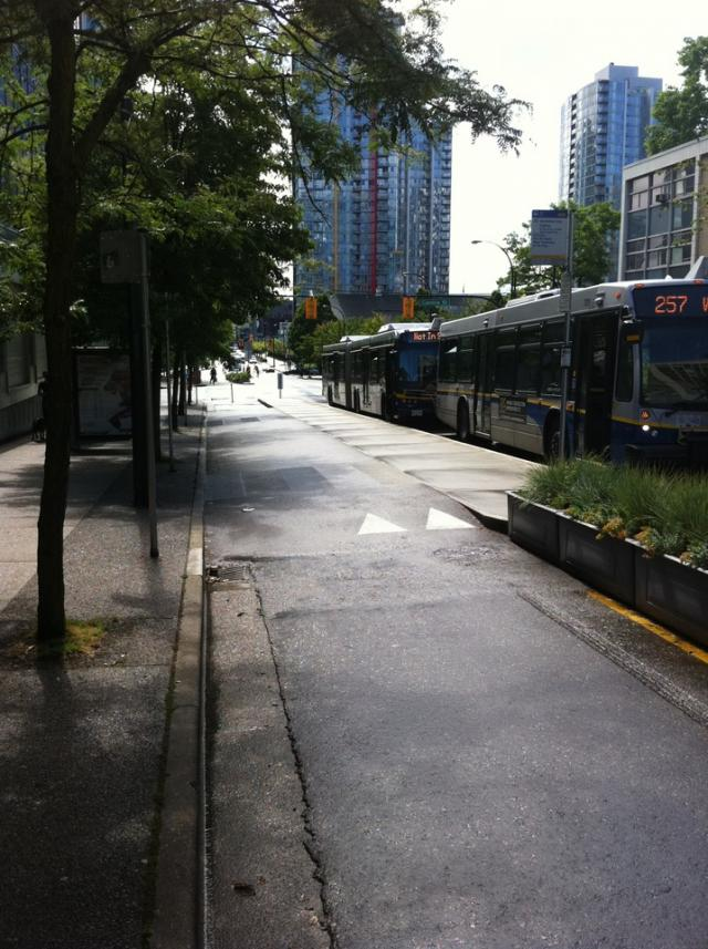Bikeway shared transit curb Vancouver