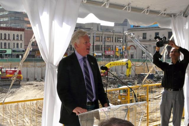 Mayor David Miller at groundbreaking for Aura Condominiums Toronto by Canderel