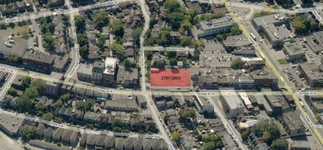 Google Maps aerial shot of the proposed 2803 Dundas Street West site