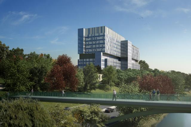 Rendering of new Bridgepoint Hospital building, Toronto