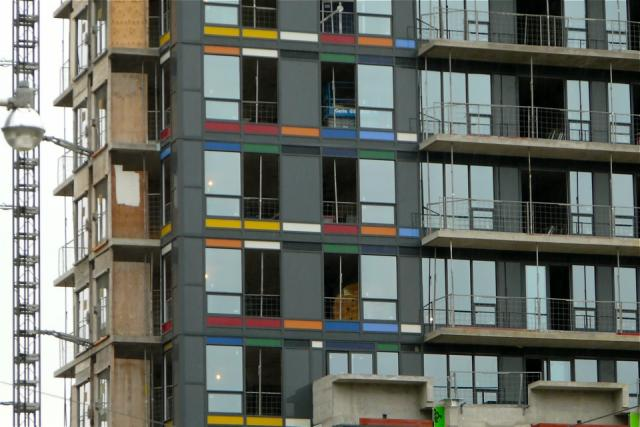 Coloured spandrels on Paintbox, a Daniels condos in Regent Park, Toronto