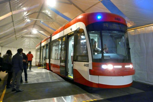 Exterior of the mock-up of the new TTC streetcar, image by Craig White
