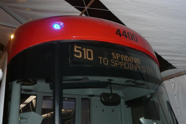 Digital rollsign on the mockup of the new TTC streetcar, image by Craig White