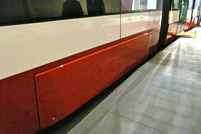 Covered trucks on the mock-up of the new TTC streetcar, image by Craig White