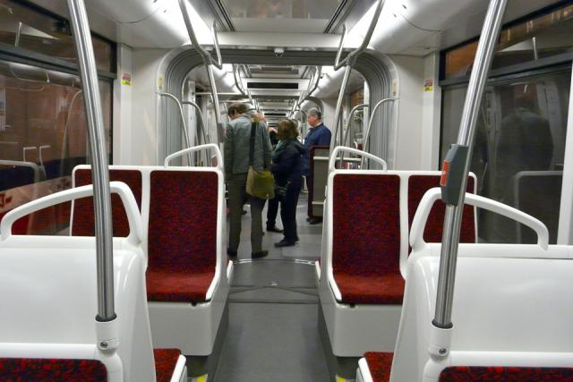 Interior of the mock-up of the new TTC streetcar, image by Craig White
