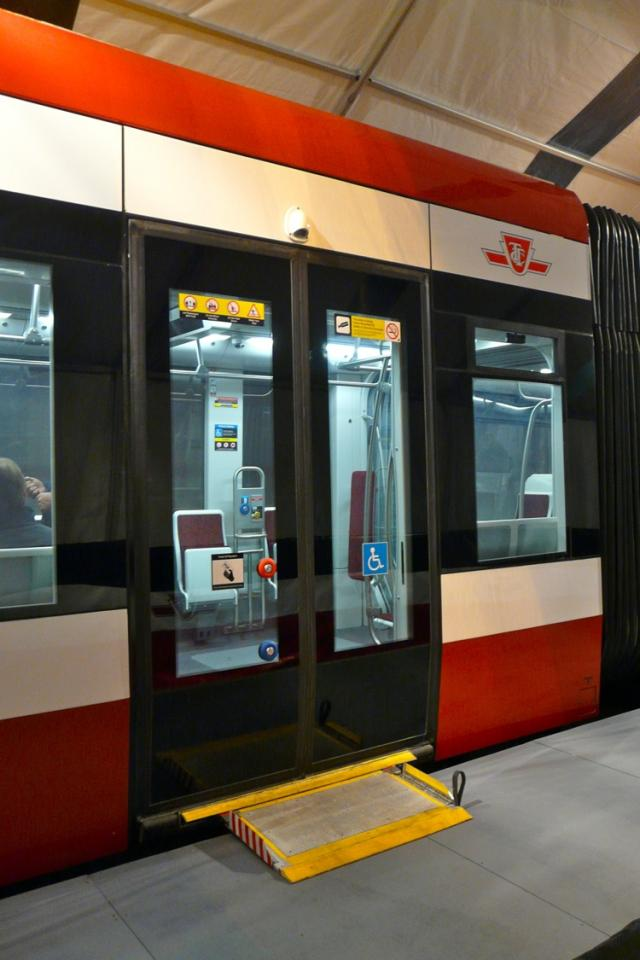 Retractable ramp on the second door of the mock-up of the new TTC streetcar, ima
