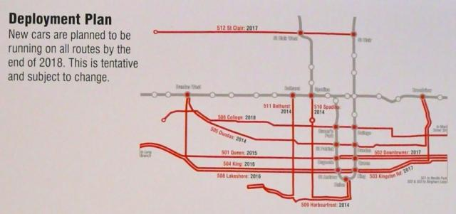 Deployment plan for the TTC's new streetcars, image by Craig White