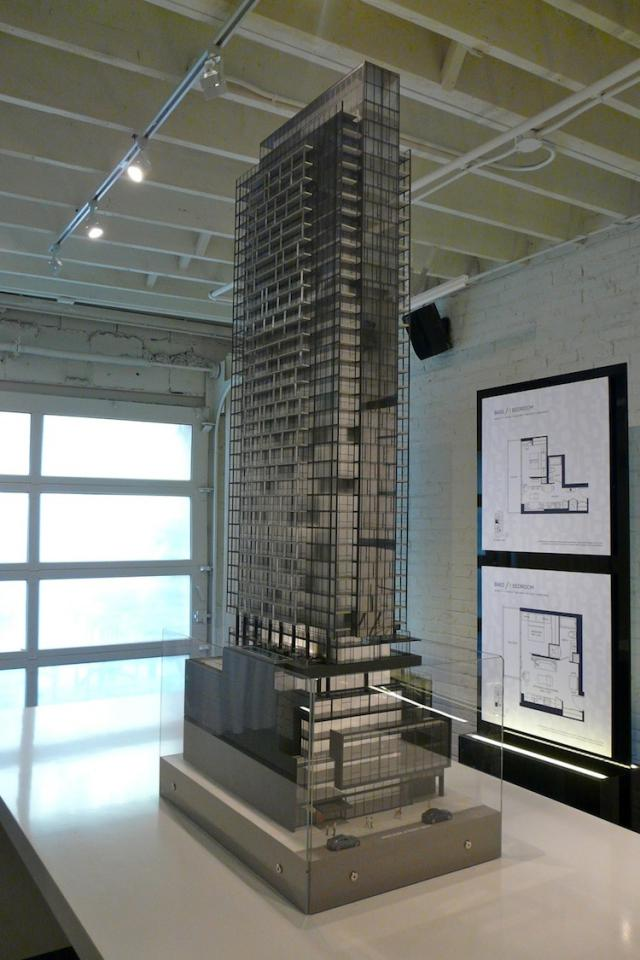 Scale model of The Bond condominiums, Toronto, by Lifetime Developments