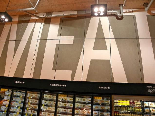 Meat section inside of Loblaws at Maple Leaf Gardens in downtown Toronto