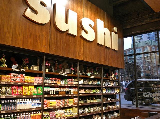 Sushi materials inside of Loblaws at Maple Leaf Gardens in downtown Toronto