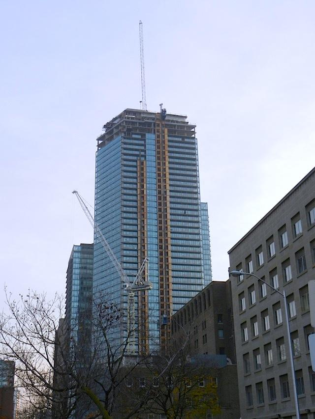 Work progressing at the top of Burano condos Toronto by Lanterra Developments