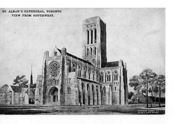 Postcard showing plan for Cathedral of St. Alban, Toronto, 1912