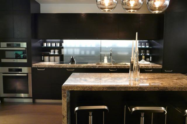 Kitchen vignette in the presentation centre for Chaz condos, Yorkville, Toronto