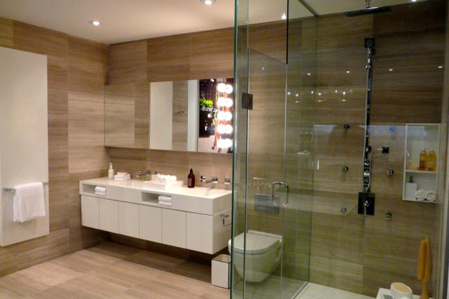 Bathroom vignette in the presentation centre for Chaz condos, Yorkville, Toronto