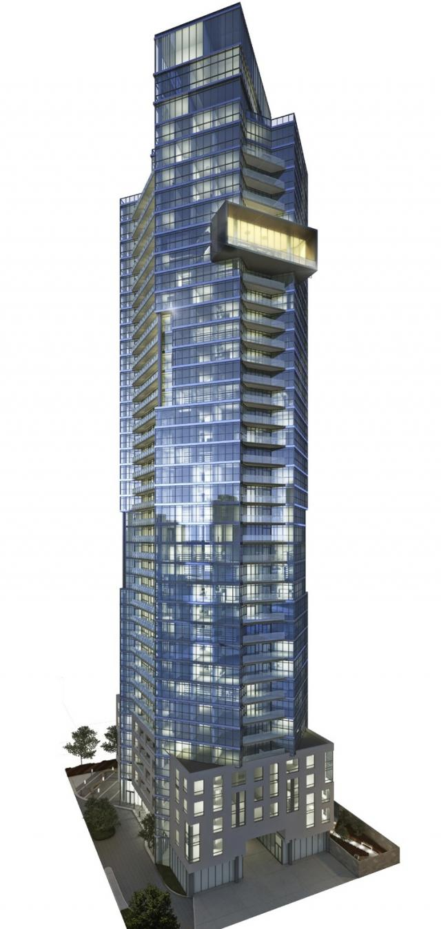 Rendering of Chaz condos Toronto from the southwest featuring the Chaz Club