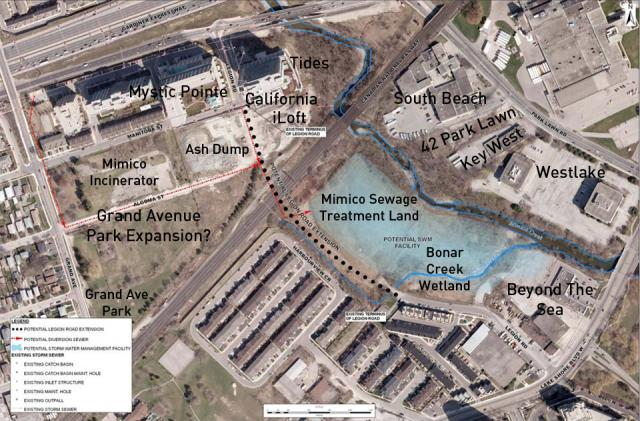 Projects and Green Spaces near the mouth of the Mimico Creek, Etobicoke