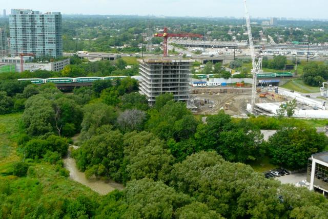 A GO Train passes by the site of South Beach condominiums, Etobicoke, July 2010