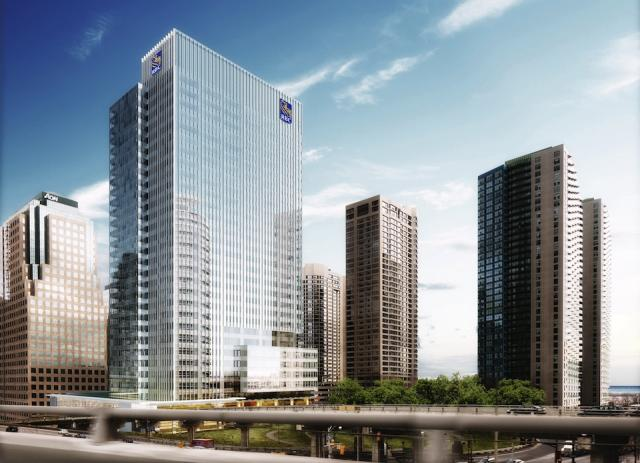 Gardiner Expwy. view of RBC WaterPark Place III, Toronto, by Oxford Properties