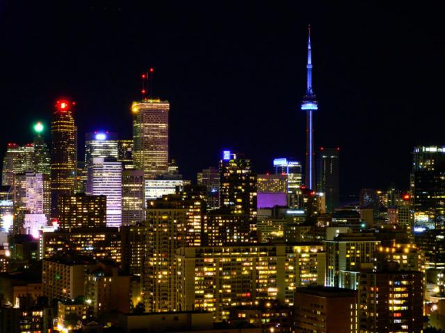 Toronto's Increasingly Colourful Night Time Skyline