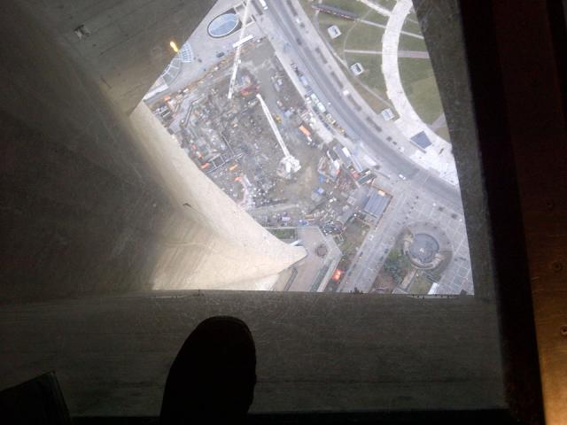 Looking Down From The CN Tower To Toronto's New Ripley's Aquarium Of Canada