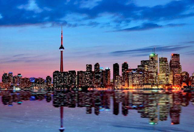 Toronto skyline at dusk from the Toronto islands