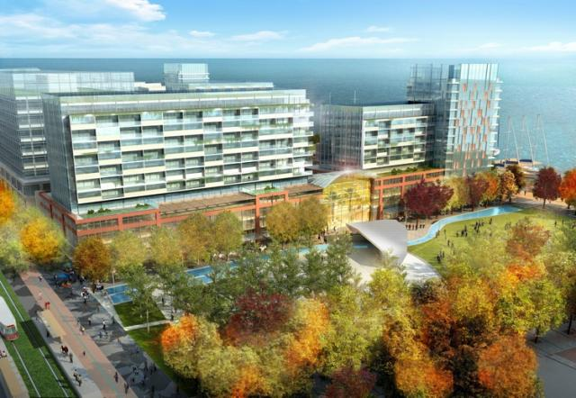 Rendering of the Sherbourne Commons in fall