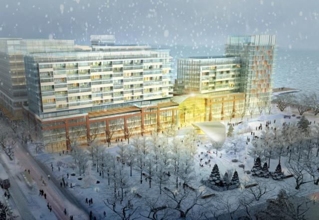 Rendering of the Sherbourne Commons in winter