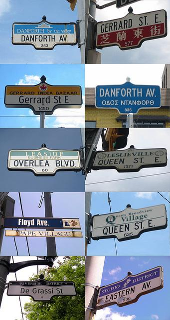 Street signs from the east end