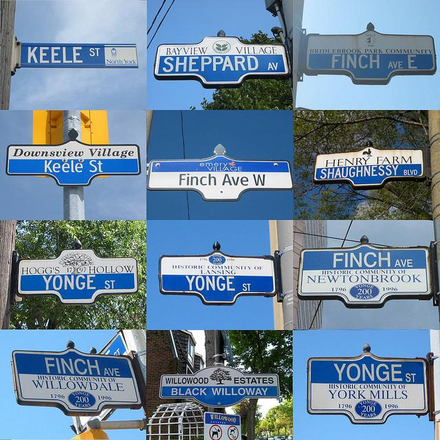 Street signs from North York