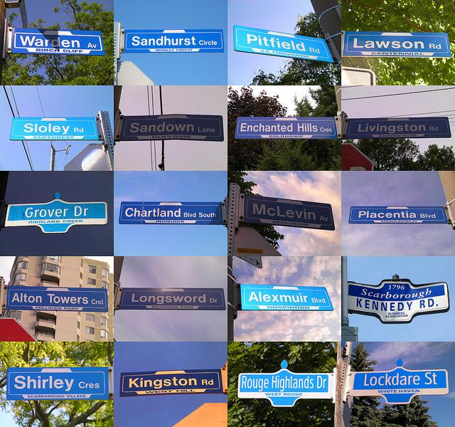 Street signs from Scarborough