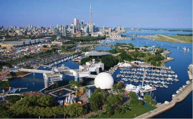 Aerial shot of Ontario Place capturing the water facilities and its Cinesphere