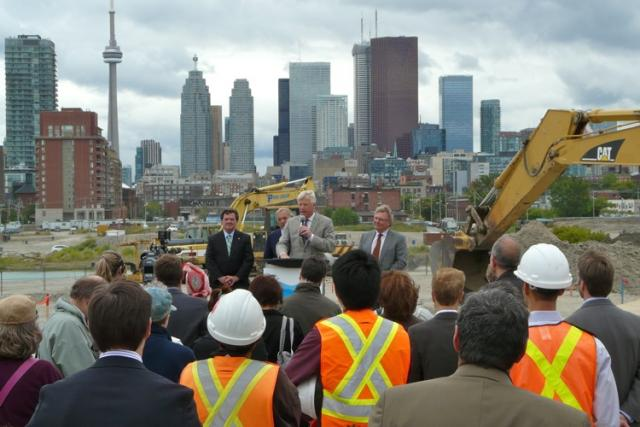 Mayor David Miller speaking to the crowd at Don River Park