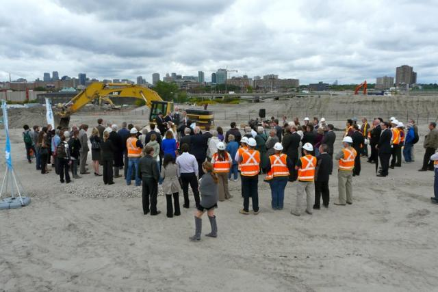 The crowd at the groundbreaking for the Don River Park