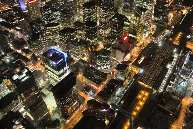 View from the CN Tower of Toronto at night