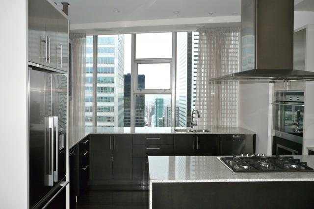Penthouse kitchen view at 1 King West, Toronto