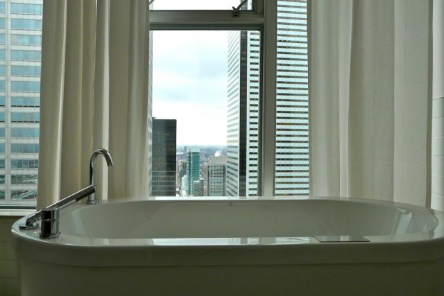 Penthouse bath view at 1 King West, Toronto