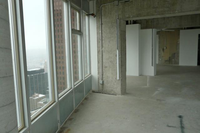 Penthouse unfinished interior view at 1 King West, Toronto