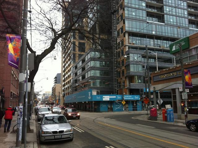 Looking at Great Gulf Homes' Charlie condos from King Street, Toronto