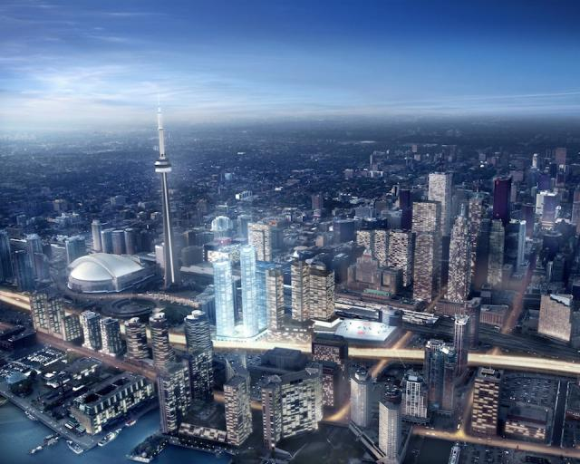 Ïce Condominiums in context, image courtesy of Lanterra and Cadillac Fairview