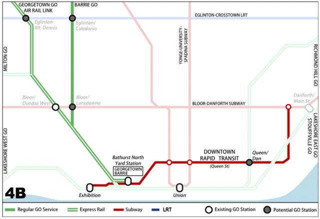 Metrolinx proposal for new downtown GO station and downtown rapid transit line,