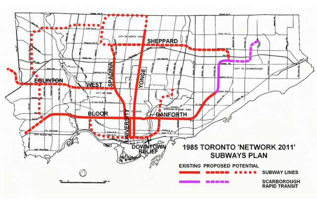 Network 2011 transit expansion plan, circa 1985
