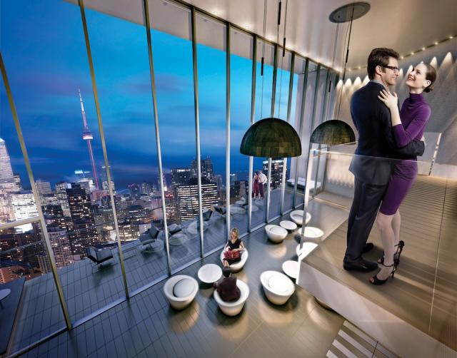 Edenshaw's Chaz condo's club overlooks the Toronto skyline from 37 floors up