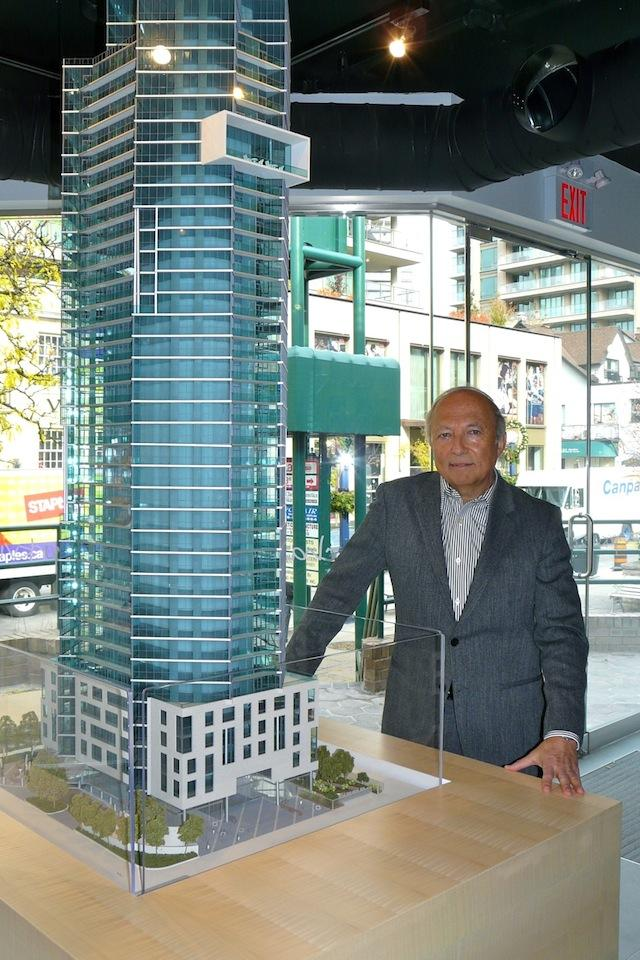 Architect Sol Wassermuhl of Page + Steele with model of Edenshaw's Chaz condos